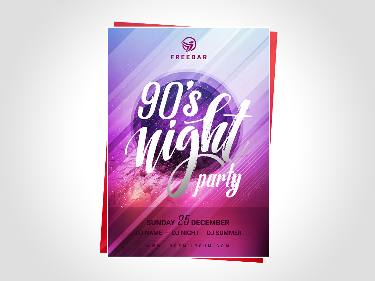 90s poster design - Poster 90 S Night Party Templates
